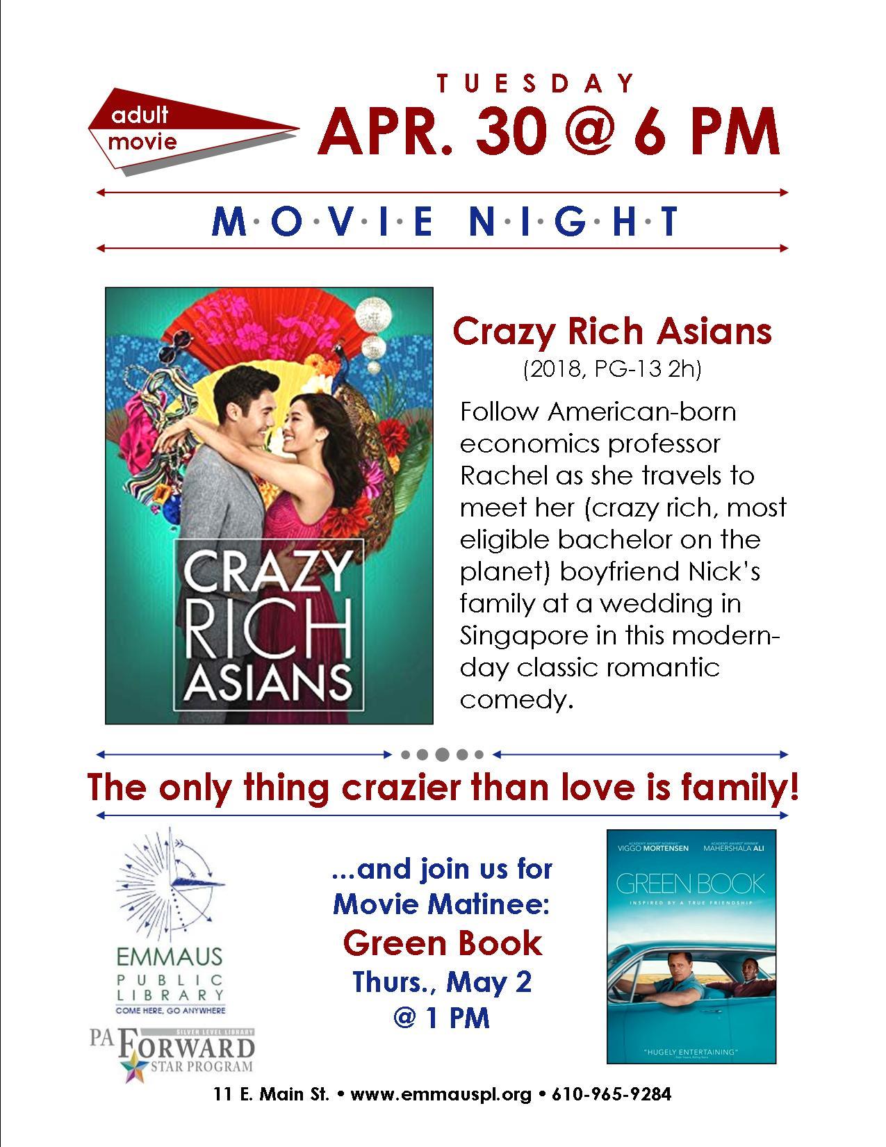 Movie Night: Crazy Rich Asians - Emmaus Public Library