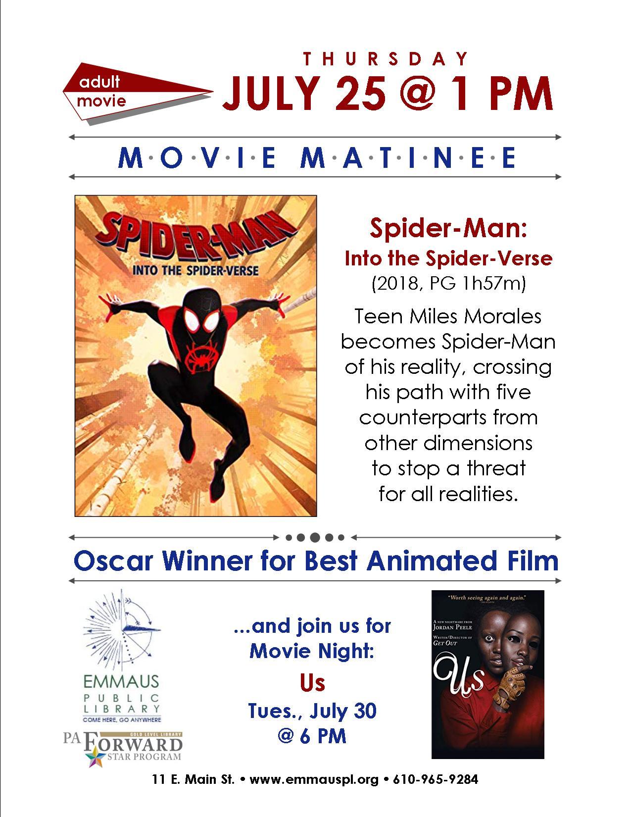 Movie Matinee: Spider-Man: Into the Spider-Verse - Emmaus Public Library